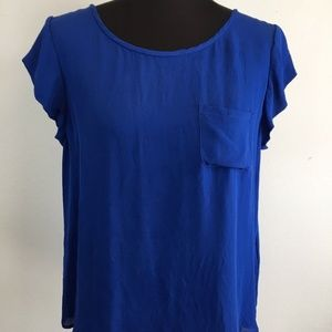 Joie Rancher Silk Top L Large Cobalt Blue